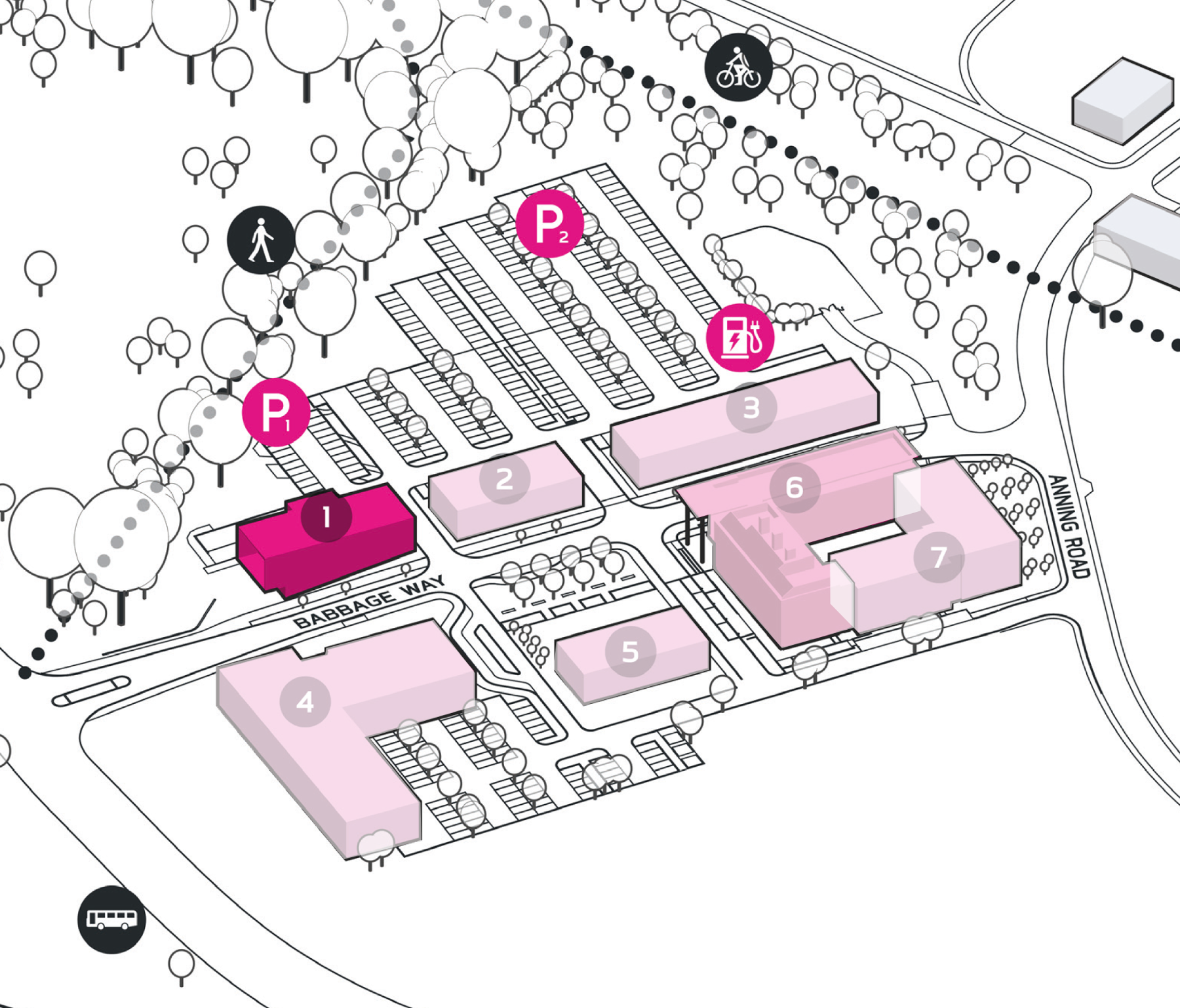 Park Plan highlighting cluster A Building 1