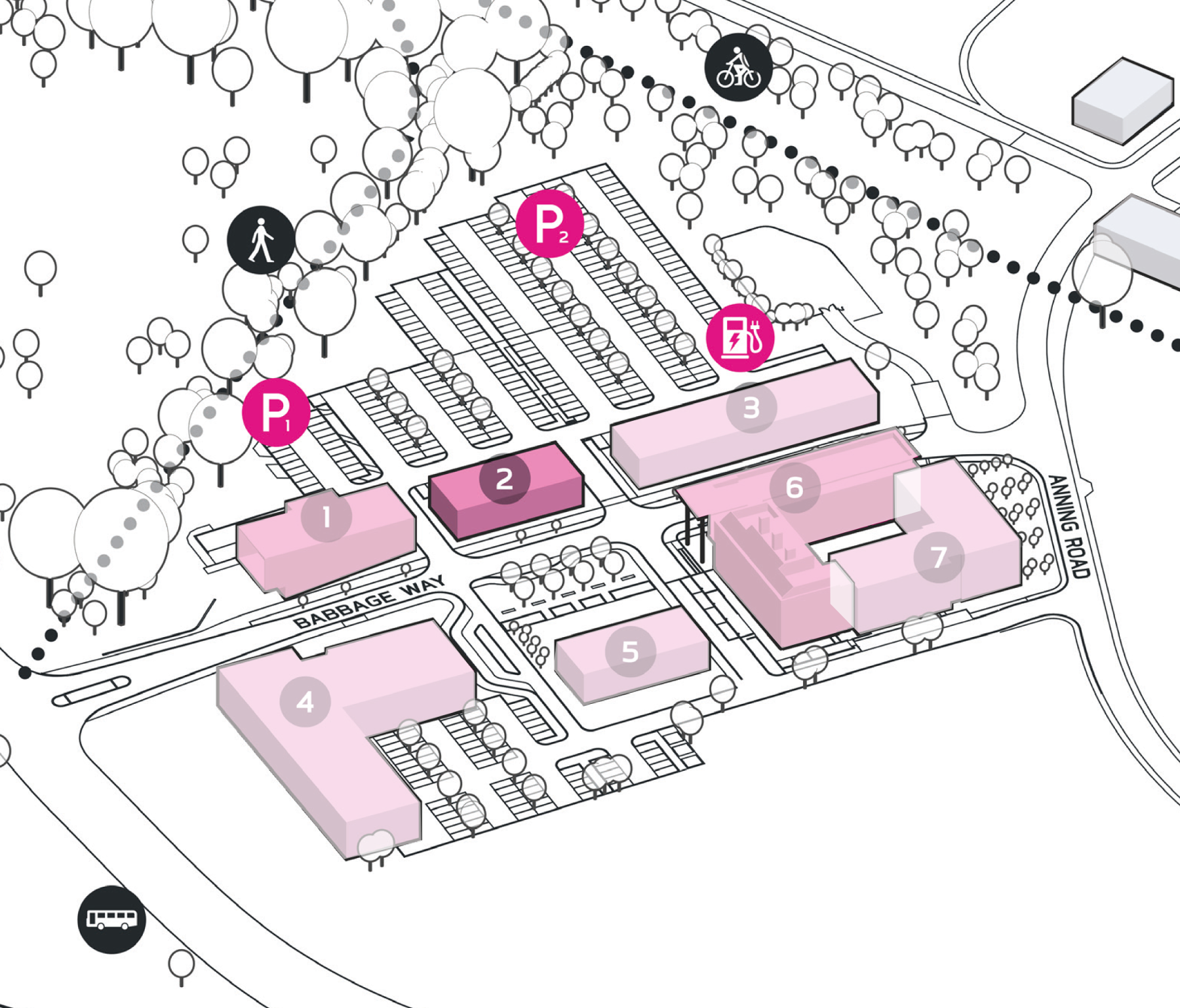 Park Plan highlighting cluster A Building 2