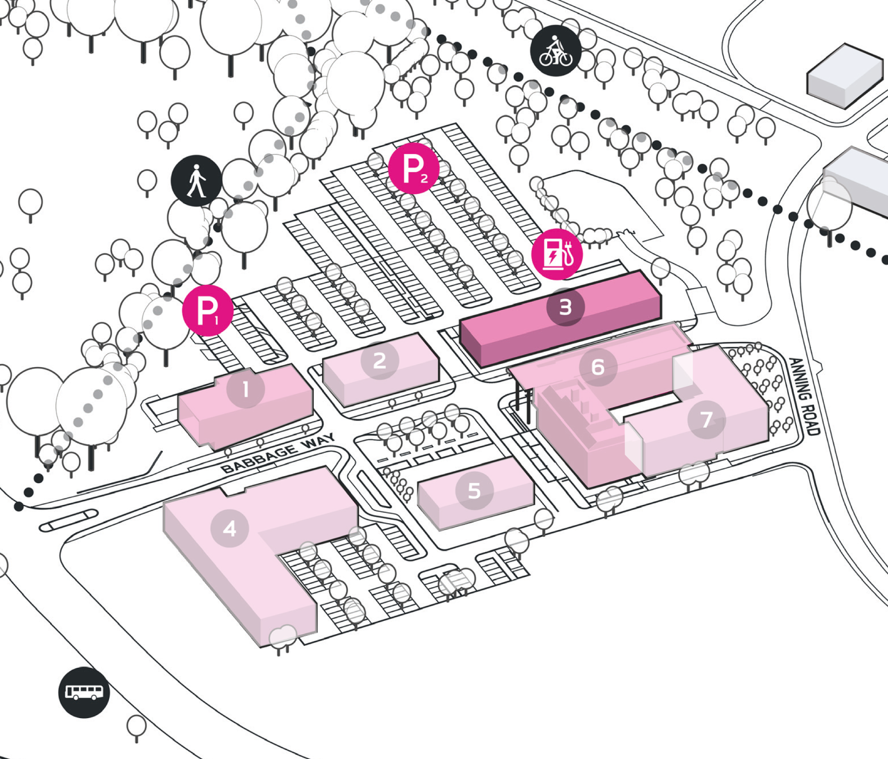 Park Plan highlighting cluster A Building 3