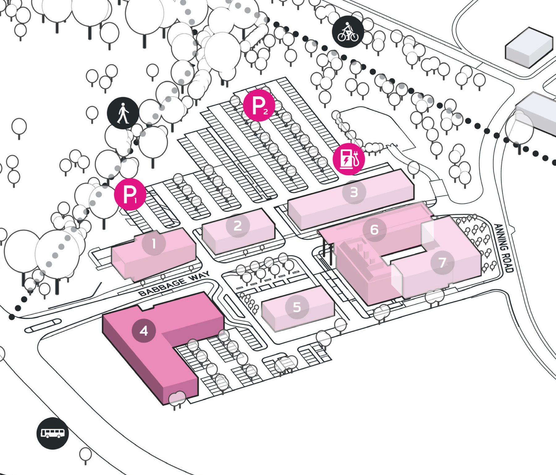 Park Plan highlighting cluster A Building 4