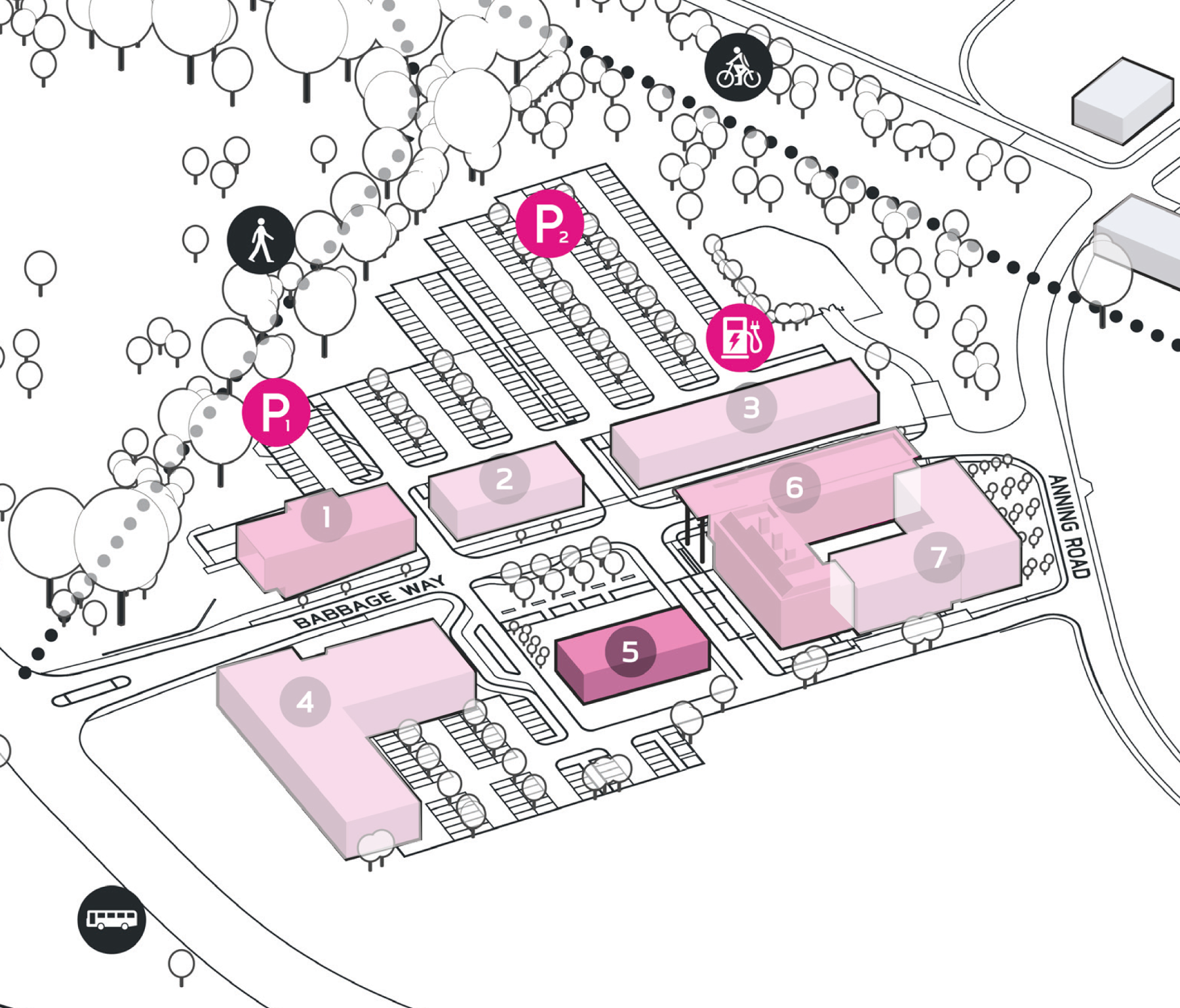 Park Plan highlighting cluster A Building 5