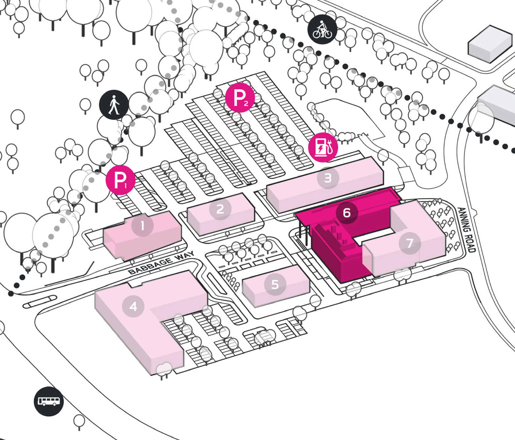 Park Plan highlighting cluster A Building 6