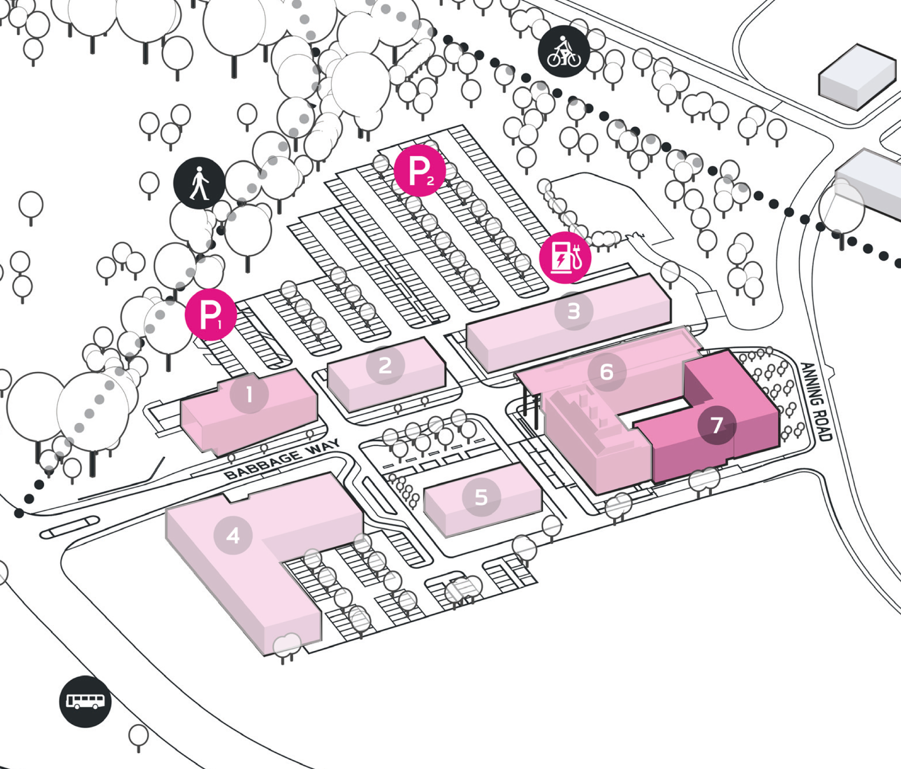 Park Plan highlighting cluster A Building 7