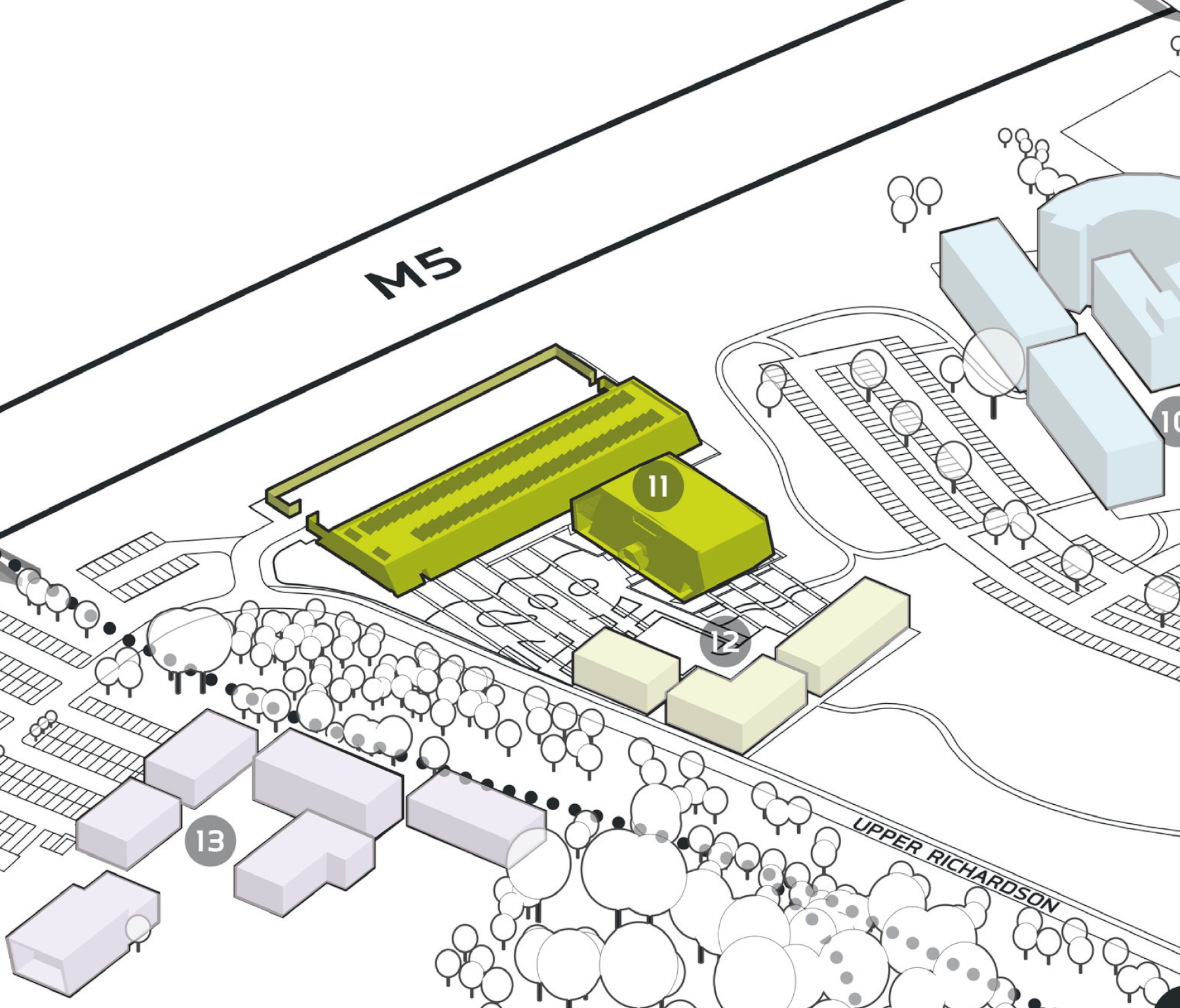 Park Plan highlighting cluster B Building 11
