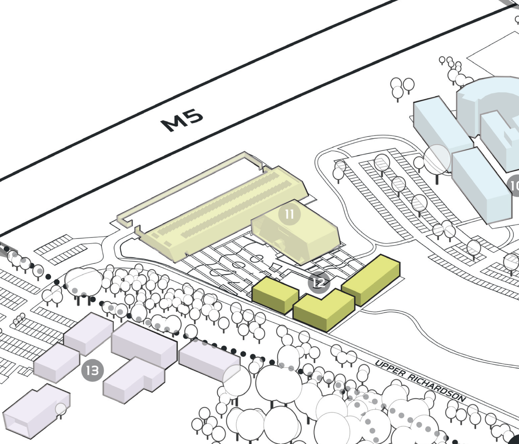 Park Plan highlighting cluster B Building 12
