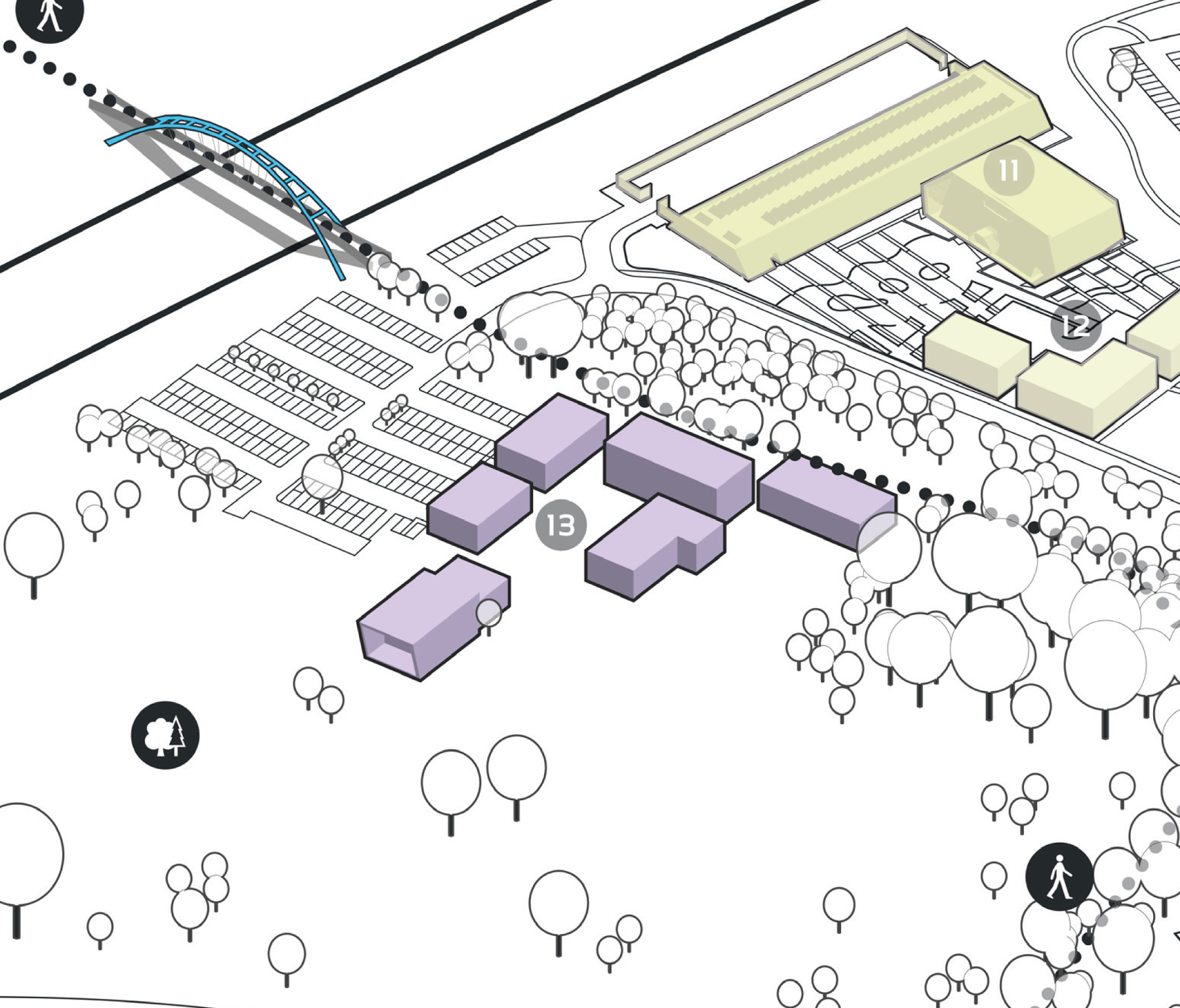 Park Plan highlighting cluster D Building 13
