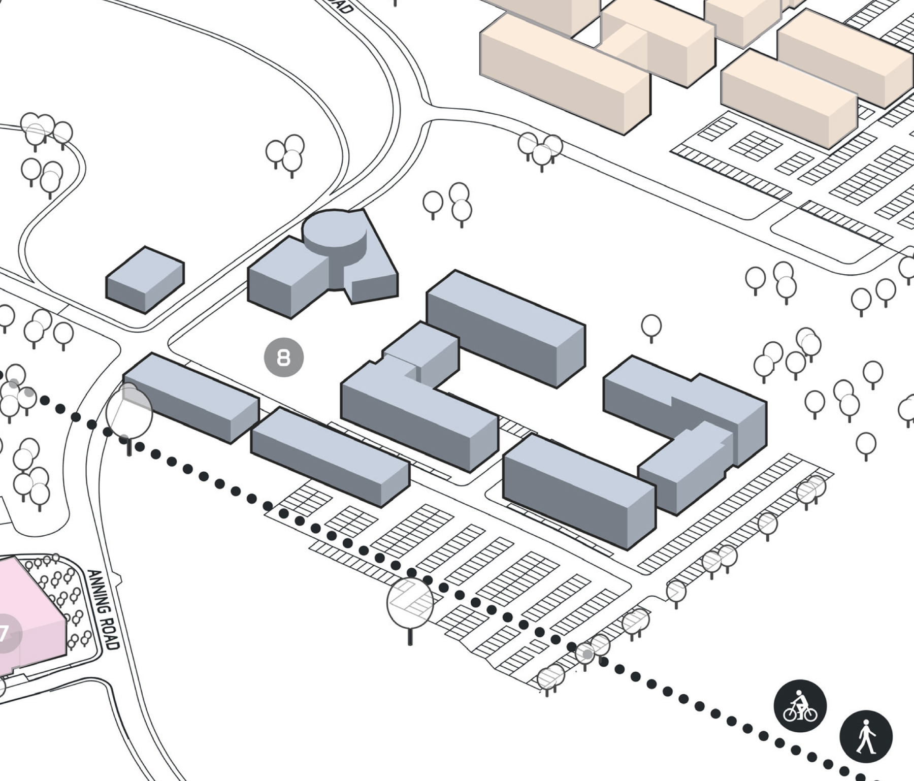 Park Plan highlighting cluster E Building 8
