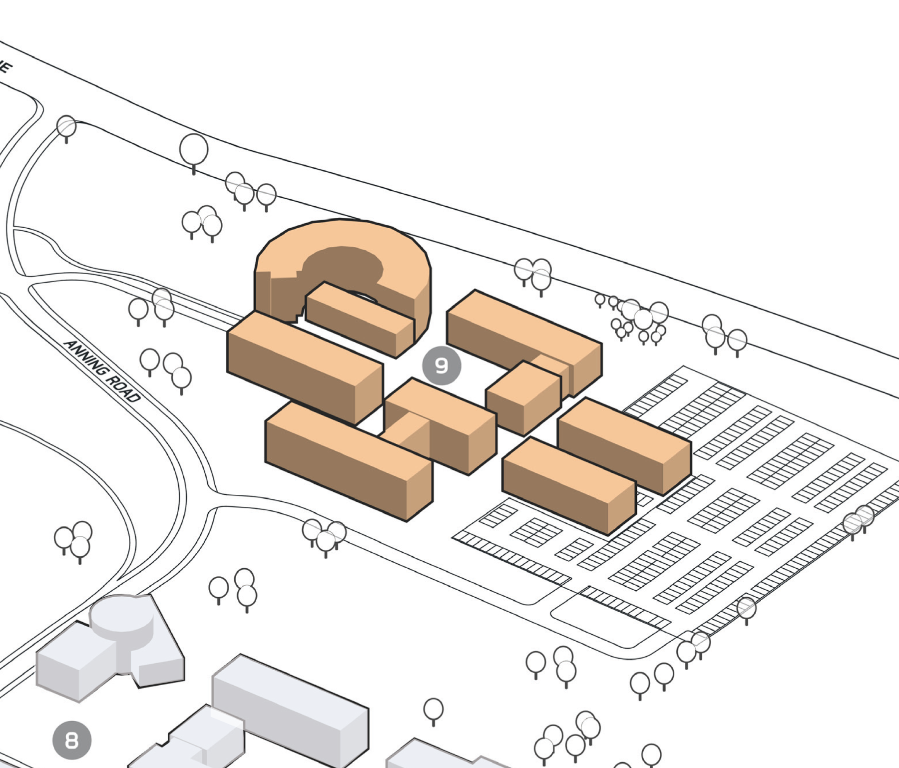 Park Plan highlighting cluster F Building 9