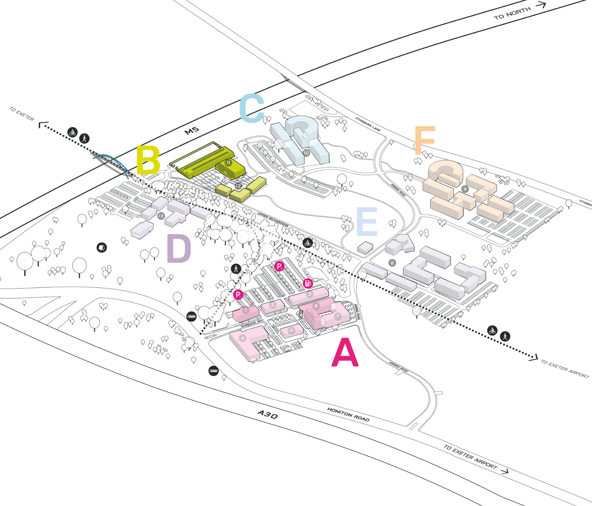 Park Plan highlighting cluster B