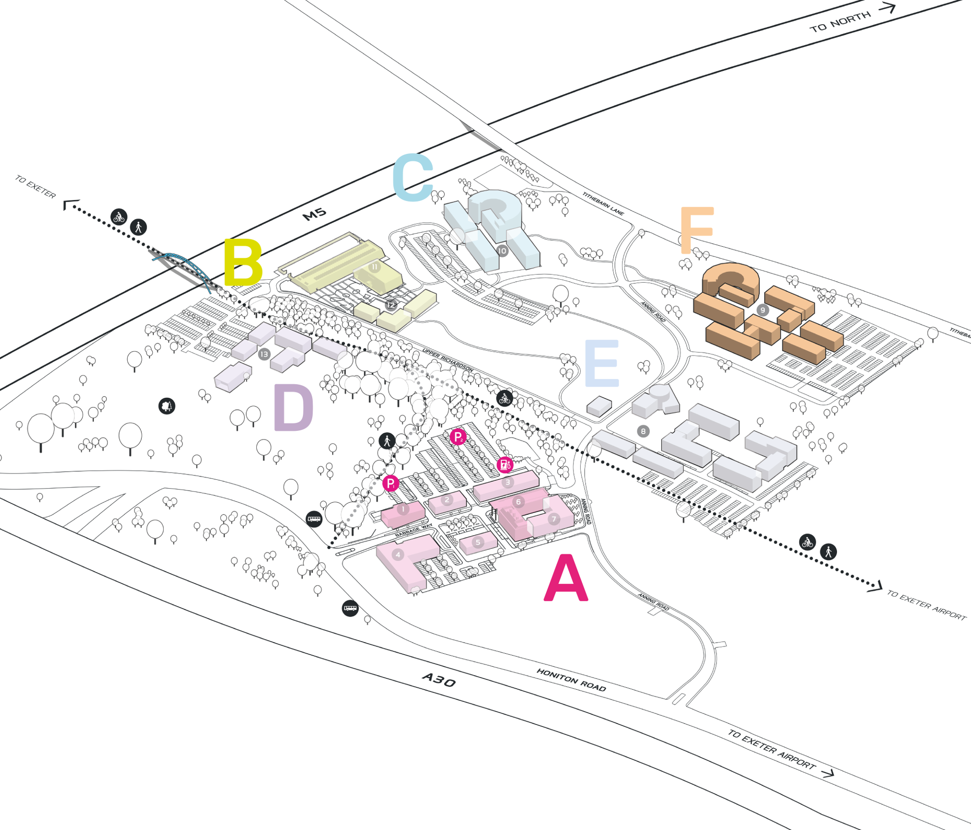 Park Plan highlighting cluster F